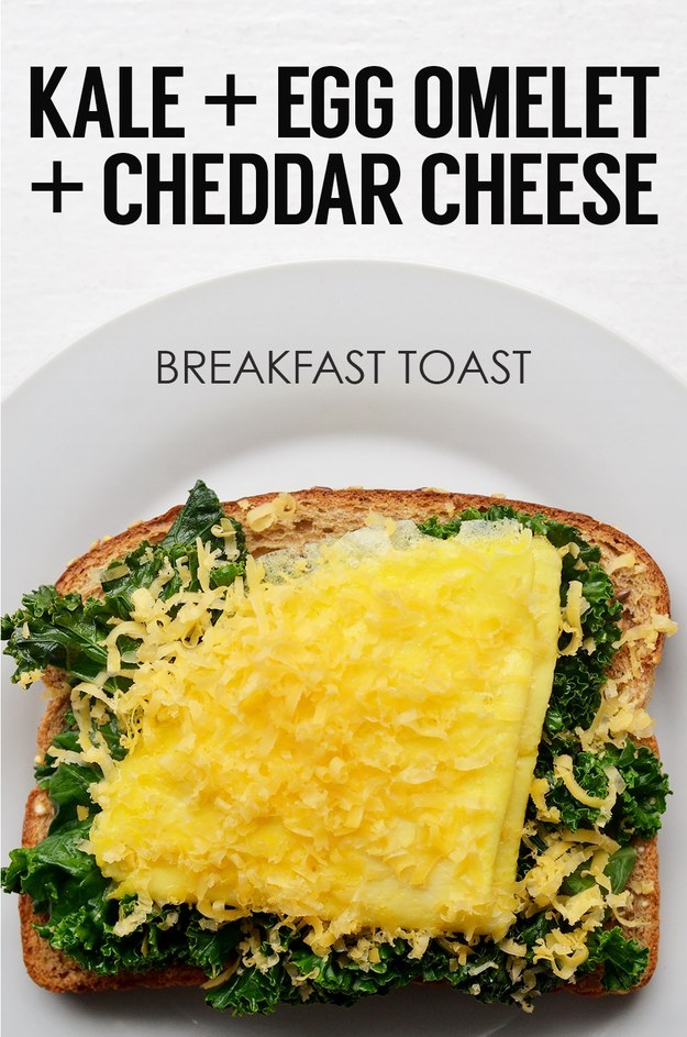 9. Sauteed Kale + One-Egg Omelet + Grated Cheddar Cheese