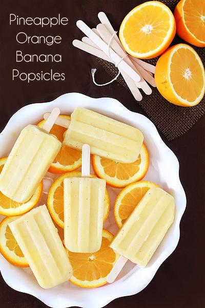 パイナップルオレンジバナナアイスキャンディー