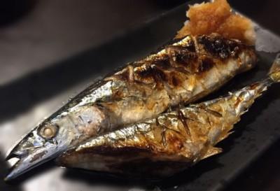 秋刀魚の塩焼きの完成