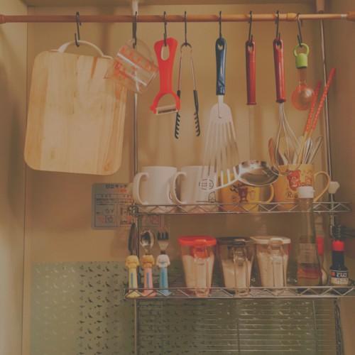 S字フック つっぱり棒 キッチン収納