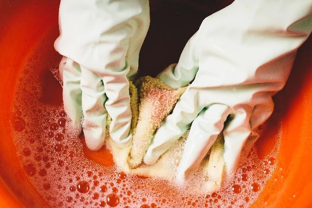 洗剤+酸素系漂白剤+お湯でつけ置き洗い