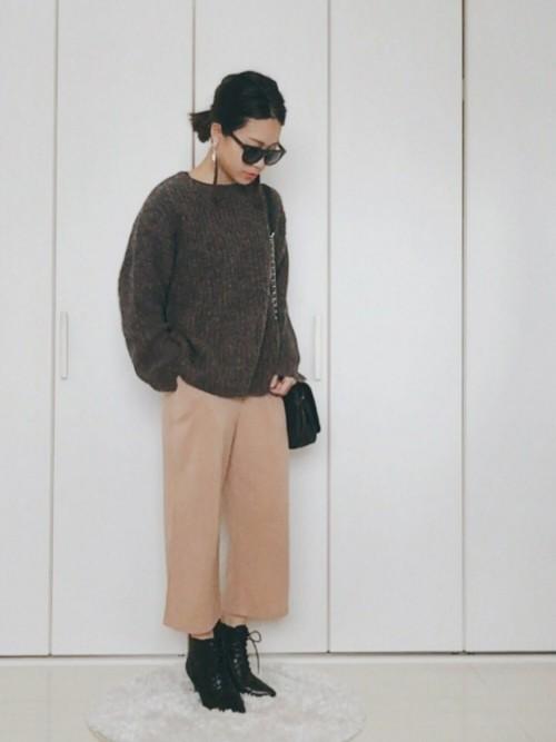 【秋冬】ガウチョパンツコーデ4