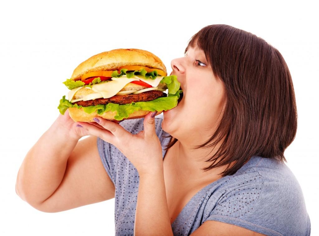 ハンバーガー 太った女性