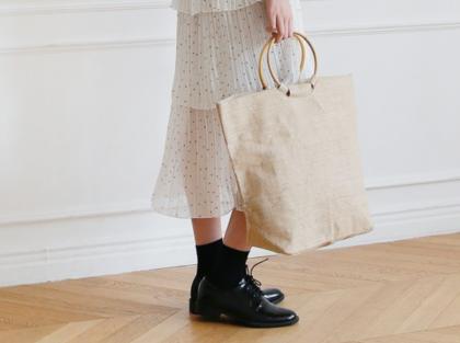 [DLM]Linen unique handle bag